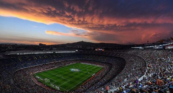 Barcelona stadium spain sunset